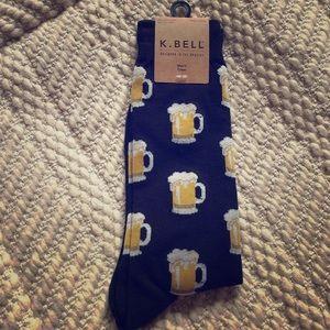 "K. BELL NWT ""Beer Mug"" Crew Socks"